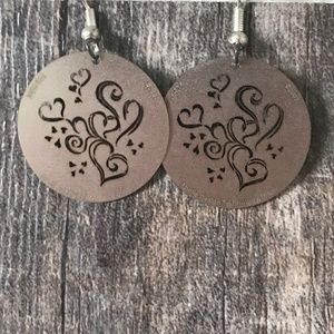 Silver Round Circle Floral Heart Earrings
